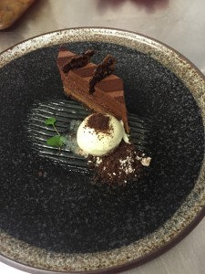 Salted caramel, chocolate and peanut terrine with lime ice cream