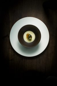 dish_thousand-year-old quail egg, potage, ginger_Eric Wolfinger